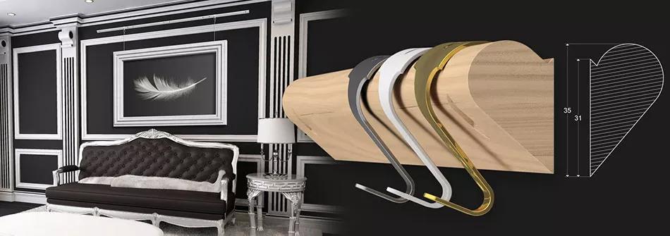 System zawieszeń obrazów z szyną drewnianą